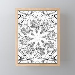 BLACK AND WHITE FLORAL MANDALA Framed Mini Art Print