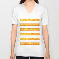 duvet cover V-neck T-shirts featuring Golden Glitter Stripes Duvet Cover by Corbin Henry