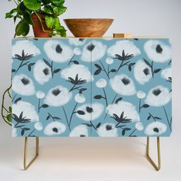 Cotton Flowers on Blue Pattern Credenza