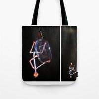 lil bub Tote Bags featuring Hanging Bub by Elise Leutwyler