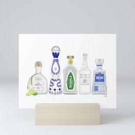 Tequila Bottles Illustration Mini Art Print