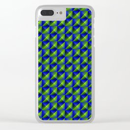 Tiled pattern of dark blue rhombuses and green triangles in a zigzag and pyramid. Clear iPhone Case