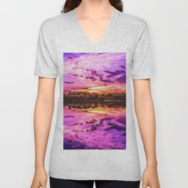 Deep Purple Lake Sunset Landscape Unisex V-Neck