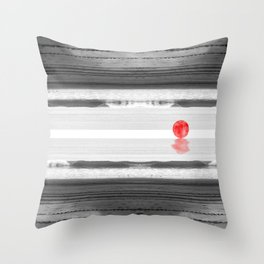 Red Moon at the Beach Throw Pillow