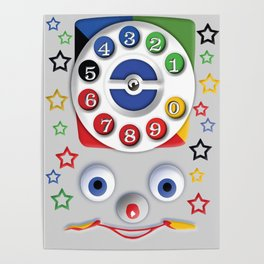 Classic Retro vintage Smiley Toys Dial Phone Poster
