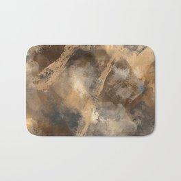 Stormy Abstract Art in Brown and Gray Bath Mat