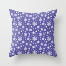Purple Holiday Snowflake Pattern Throw Pillow