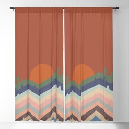 Abstraction mountain and sun landscape  Blackout Curtain