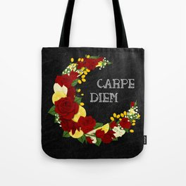 Crescent Bloom | Red roses and lemons Tote Bag
