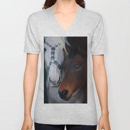 Painted horse portrait Unisex V-Neck