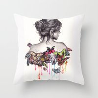 woman Throw Pillows featuring Butterfly Effect by KatePowellArt
