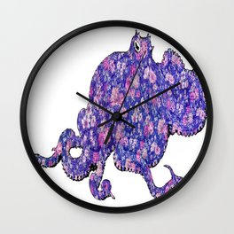 Floral Octopus  Wall Clock