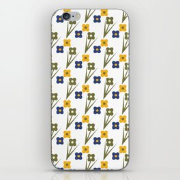 Garden Bold Floral Green Blue and Yellow Tiny Flower Pattern iPhone Skin