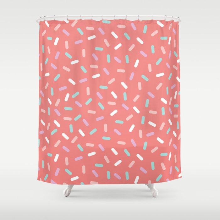 Coral Sprinkle Confetti Pattern Shower Curtain