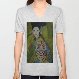 Woman with tiger Unisex V-Neck