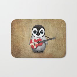 Baby Penguin Playing Danish Flag Acoustic Guitar Bath Mat