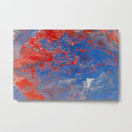 Fluid Art Acrylic Painting, Pour 13, Blue, Red & White Blended Color Metal Print