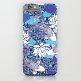 Blue Koi Ripples fish Pattern iPhone Case