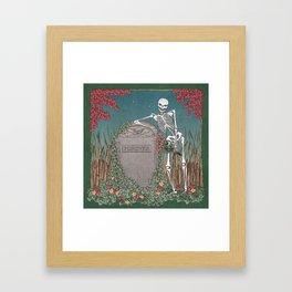 Skeleton Leaning on Grave Framed Art Print