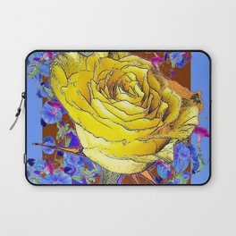 GRAPHIC YELLOW ROSE BLUE FLOWERS BROWN ART Laptop Sleeve