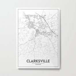 Minimal City Maps - Map Of Clarksville, Tennessee, United States Metal Print