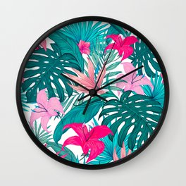 Beautiful Tropical Leaves and Flowers Wall Clock