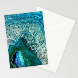 Aqua turquoise agate mineral gem stone Stationery Cards