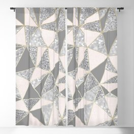 Geometric, Blush Pink, Gold, Gray and Silver, Glitter, Abstract, Pattern Blackout Curtain