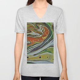 Green and Orange Contemporary Style Abstract Art Unisex V-Neck