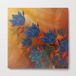 """Blue flowers on orange silk"" (Air Spring at night) Metal Print"
