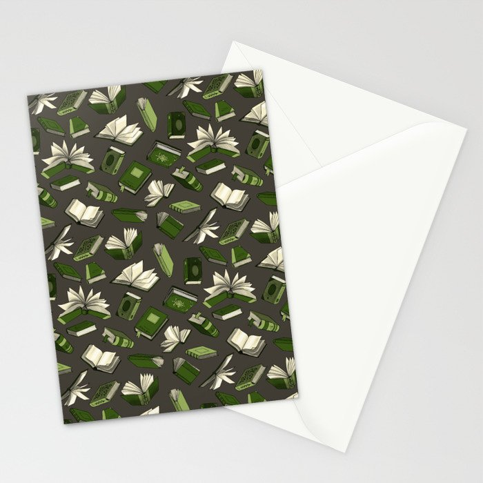 Spellbooks, green Stationery Cards