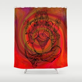 Lord Ganesha on Red Spiral Shower Curtain