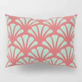 Coral and Mint Green Deco Fan Pillow Sham
