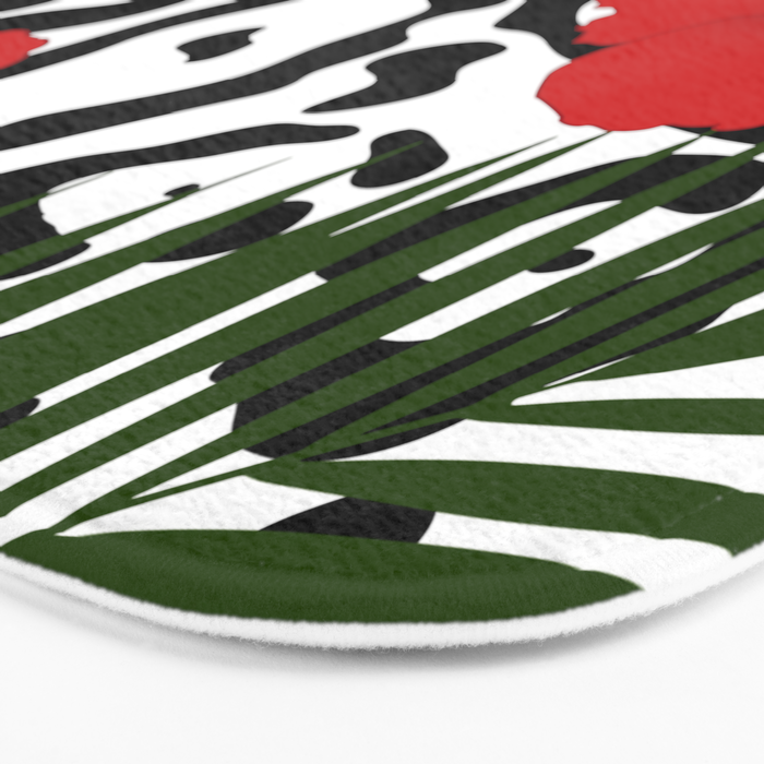 Red hibiscus and palm leaves seamless pattern Bath Mat