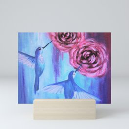 Hummingbirds and Roses I Mini Art Print