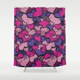 Scribble Pink & Purple Hearts Pattern Shower Curtain