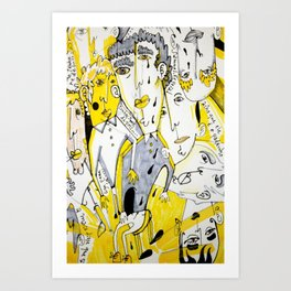 yellow people Art Print