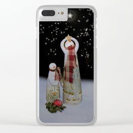 Starry Night Snowmen Clear iPhone Case