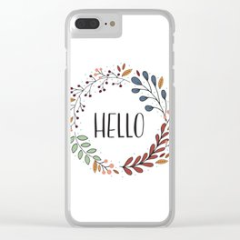 Hello Fall Wreath Clear iPhone Case