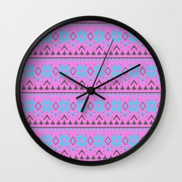 Knitted Christmas pattern, pink blue Wall Clock