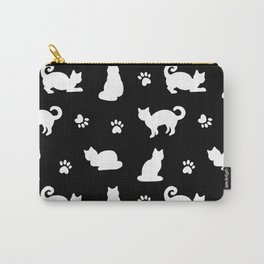 White Cats and Paw Prints Pattern on Black Carry-All Pouch