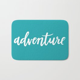 Adventure Calligraphy Travel Lettering Teal Bath Mat