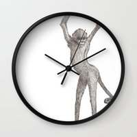 booty Wall Clocks featuring Monkey Booty by Philumptuous