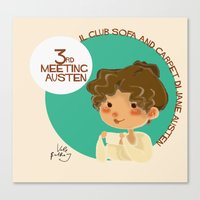 jane austen Canvas Prints featuring Jane Austen 3RD meeting Austen by Vale Bathory