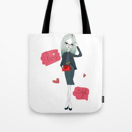 Stylish Parisian girl Tote Bag