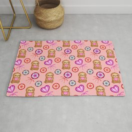 Funny happy little pink baby sloths holding pink hearts. Sweet vintage retro lollipops. Cute pattern Rug