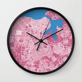 LA HABANA Map Cuba | Pink | More Colors, Review My Collections Wall Clock