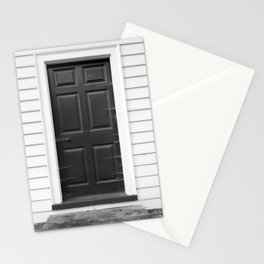Door with Cobwebs in Black and White Stationery Cards