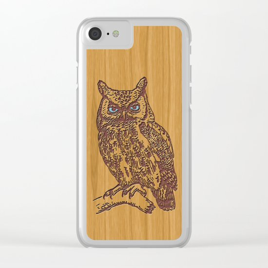WOODEN OWL Clear iPhone Case