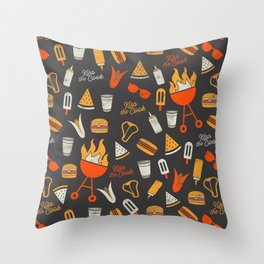 Kiss the Cook BBQ Pattern Throw Pillow